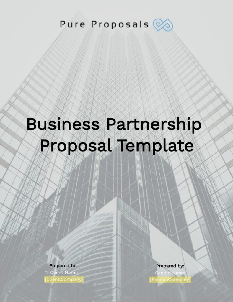 Business Partnership Proposal Template Cover